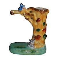 Vintage Japan Dog and Bluebirds Figural Tree Trunk Vase