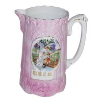 Victorian Sunderland Pink Luster Guardian Angel with Little Girl 'Think of Me' Pitcher