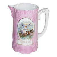 Victorian Sunderland Pink Luster Guardian Angel with Little Boy 'Think of Me' Pitcher
