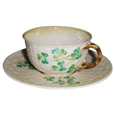 Irish Belleek Shamrock Ware Cup and Saucer 3rd Black Mark
