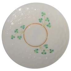 Belleek Ireland Basket Weave and Shamrock Saucer 5th Mark