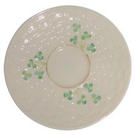Belleek Ireland Basket Weave and Shamrock Saucer 6th Mark