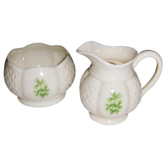 Donegal Irish Parian China Shamrock Pattern Cream and Sugar