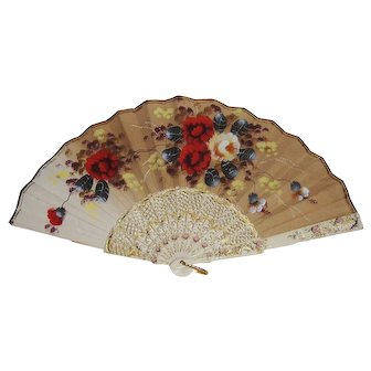 Pretty Vintage Folding Hand Fan Hand Painted Flowers on Fabric