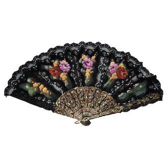 Vintage Black Lace Folding Hand Fan Hand Painted Signed