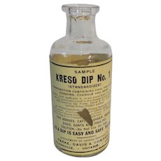 Parke Davis Vintage Dreso Dip No. 1 Empty Sample Bottle
