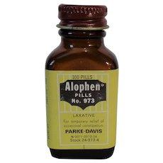 Parke, Davis 'Alophen' Laxative Vintage Amber Bottle