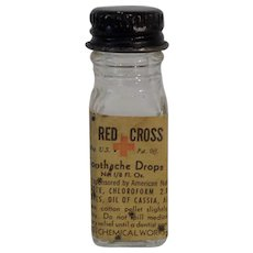 Tiny RED CROSS Toothache Drops Bottle with Label and Cap