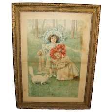 "Framed FAIRY SOAP Advertisement ""Kitty's Bath"" Maude Humphrey c1899"