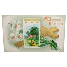 Vintage Easter Postcard Embossed Lilies and Cross