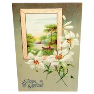 Vintage Easter Postcard Embossed Flowers and Inset Made in Germany