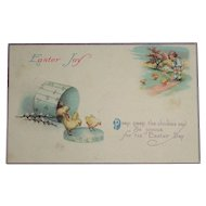 """Easter Joy"" Vintage Postcard Chicks and Child c1918 USA Made"