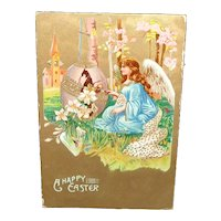 'A Happy Easter' Postcard with Angel and Egg c1913