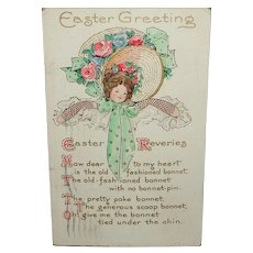 Easter Greeting Postcard with Bonnet Poem c1913