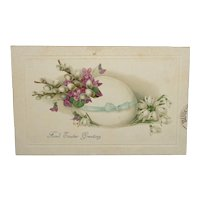 """""""Fond Easter Greeting"""" Embossed Flowers and Egg Easter Postcard c1915"""