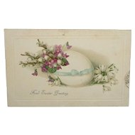 """Fond Easter Greeting"" Embossed Flowers and Egg Easter Postcard c1915"