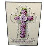 'Easter Peace Be With You' Vintage Embossed Floral Cross Postcard