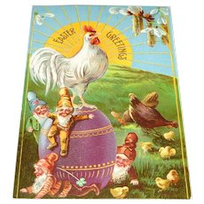 'Easter Greetings' Vintage Postcard Gnomes, Chickens, Rooster, Egg Made in U.S.A.