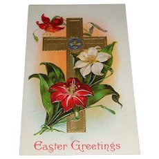 'Easter Greetings' Golden Cross and Flowers Postcard