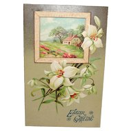 c1912 'Easter Greeting' Embossed Postcard Scenic with Lilies