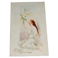 'Easter Greetings' Embossed Angel and Flowers Postcard c1915