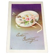 C1915 Easter Postcard with Egg, Pussy Willow, and Daisies