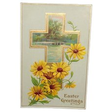 Easter Postcard Embossed Brown Eyed Susans and Scenic Cross