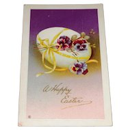 'A Happy Easter' Postcard with Pansies and Egg c1915