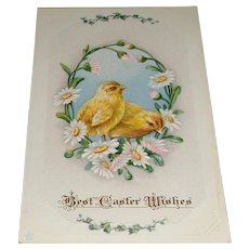 'Best Easter Wishes' Embossed Post Card Chicks in Daisy Wreath