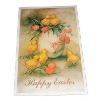 'Happy Easter' Vintage Hannes Peterson Easter Postcard