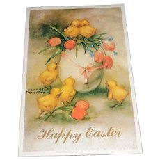 'Happy Easter' Vintage Hannes Peterson Easter Postcard