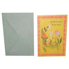 "Vintage Carlton 'Peeps' Easter Card ""No Flowery Speech No big bouquet"""