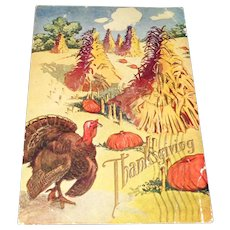 c1908 Vintage Thanksgiving Postcard with U.S. One Cent Stamp