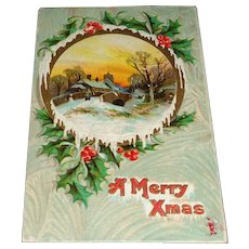 """""""A Merry Xmas"""" Vintage Christmas Postcard  Frosted Wreath Scenic c1910"""