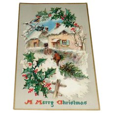 """A Merry Christmas"" Tuck's Vintage Holly Post Card Series No-100"