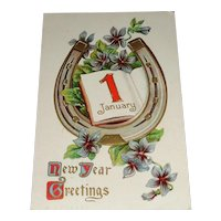 """""""New Year Greetings"""" Vintage New Year's Postcard c1909"""