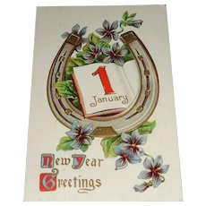 """New Year Greetings"" Vintage New Year's Postcard c1909"