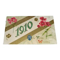 """1910 """"New Year Wishes"""" Embossed Vintage Postcard"""