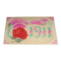 """1911 """"A Happy New Year"""" Heavily Embossed Fabric Rose"""