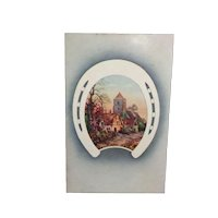 Vintage New Year's Postcard with Scenic Horse Shoe c1913
