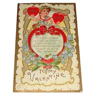 """""""True Love"""" Bow of Love Valentine Postcard with Cupid c1911"""