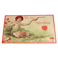 """""""He'll get You if you don't watch out"""" Vintage Valentine Postcard"""