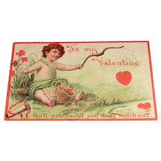 """He'll get You if you don't watch out"" Vintage Valentine Postcard"
