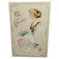 John Winsch 1912 Embossed Valentine Postcard Flowers and Beautiful Woman