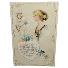 John Winsch 1912 Embossed Valentine Postcard Flowers and Beautiful Woman