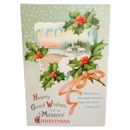 I.A.P. Co Vintage Embossed Christmas Postcard Printed in Germany