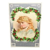 """Vintage """"A Merry Christmas"""" Postcard Printed in Germany with Adorable Girl"""
