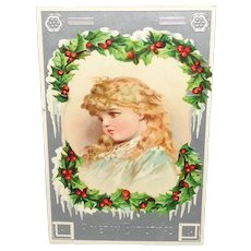 "Vintage ""A Merry Christmas"" Postcard Printed in Germany with Adorable Girl"