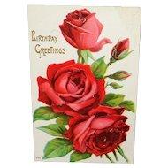Embossed Red Roses Vintage Birthday Greetings Postcard