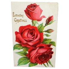 Embossed Red Roses Vintage Birthday Greetings Postcard